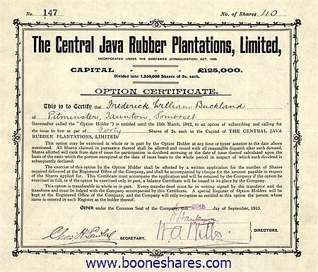 CENTRAL JAVA RUBBER PLANTATIONS