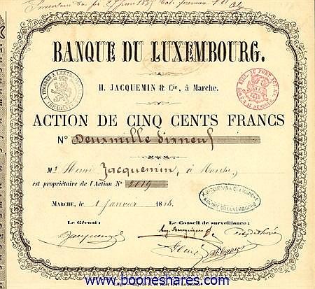 BANQUE DU LUXEMBOURG, H. JACQUEMIN ET CIE.