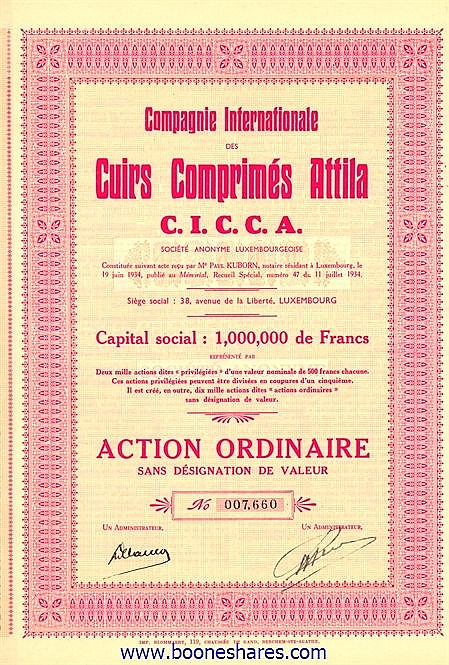 CUIRS COMPRIMES ATTILA S.A. LUX.,  CIE. INTERNATIONALE DES
