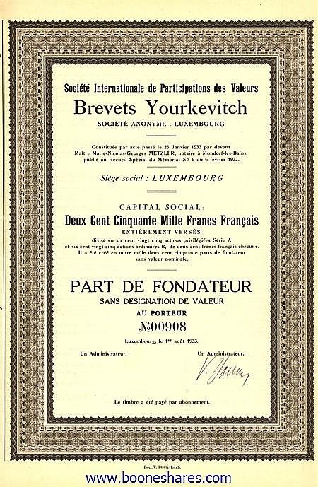 BREVETS YOURKEVITCH S.A., SOC. INT. DE PARTICIPATIONS DES VALEURS