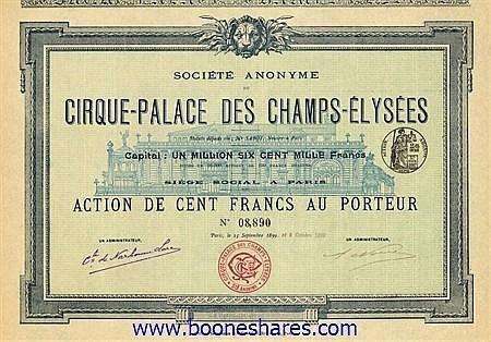 CIRQUE-PALACE DES CHAMPS-ELYSEES SA