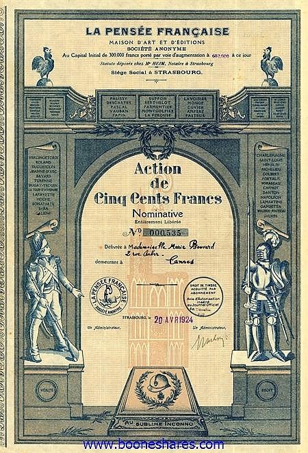 LA PENSEE FRANCAISE MAISON D'ART ET D'EDITIONS S.A.