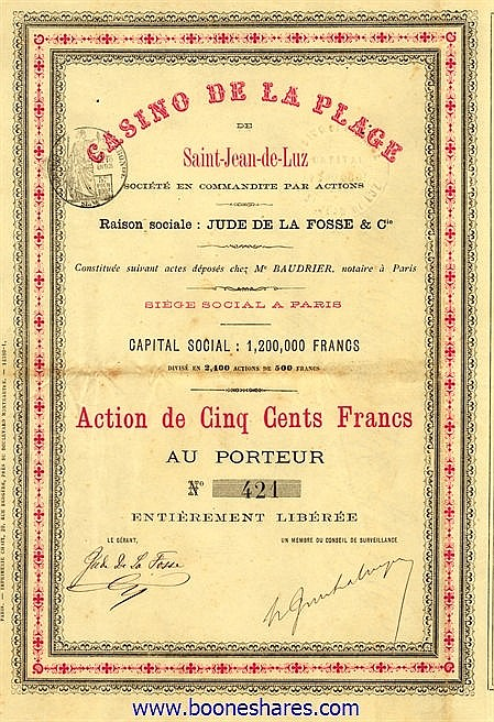 CASINO DE LA PLAGE DE SAINT-JEAN-DE-LUZ  (JUDE DE LA FOSSE & CIE)