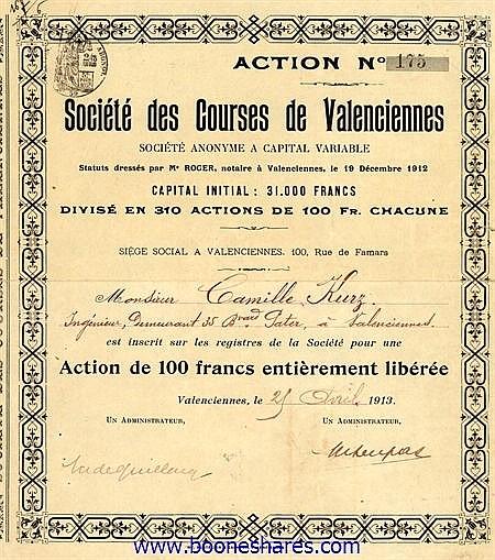 COURSES DE VALENCIENNES, SOC. DES