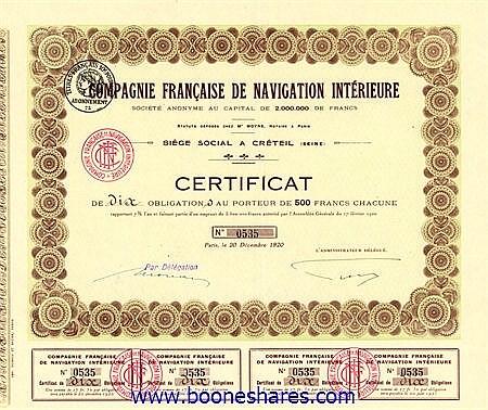 NAVIGATION INTERIEURE, CIE. FR. DE