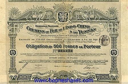 C.D.F. DE L'INDO-CHINE & DU YUNNAN, CIE. FRANCAISE DES