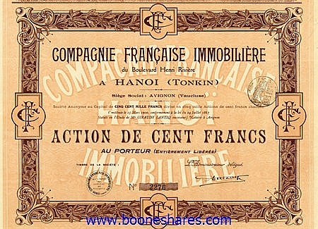 IMMOBILIERE DU BOULEVARD HENRI RIVIERE A HANOI (TONKIN), CIE. FRANCAISE