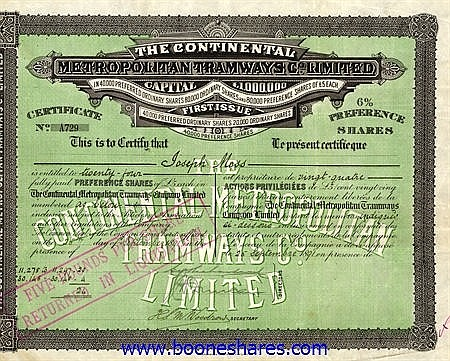 CONTINENTAL METROPOLITAN TRAMWAYS CO. LTD