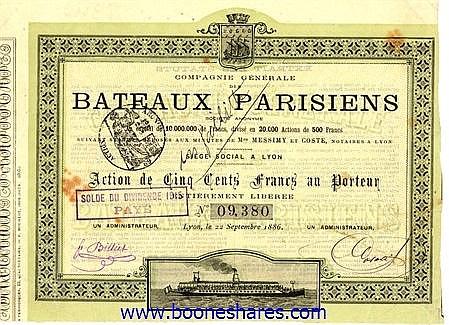 BATEAUX PARISIENS, CIE. GEN. DES