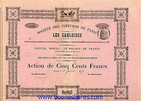 VOITURES DE PARIS LES GAULOISES, SOC.