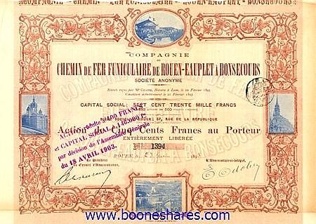 C.D.F. FUNICULAIRE DE ROUEN-EAUPLET A BONSECOURS, CIE. DU