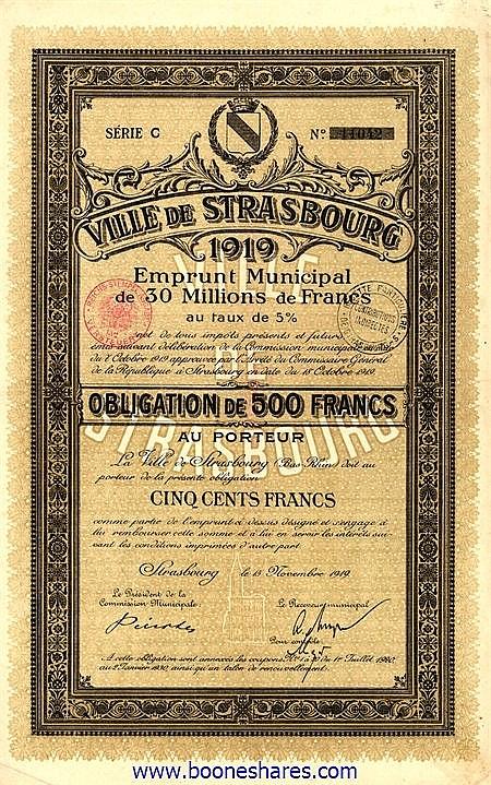 VILLE DE STRASBOURG 1919