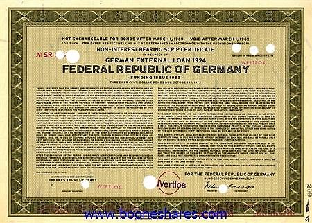 GERMAN EXTERNAL LOAN 1924 (4 pieces)