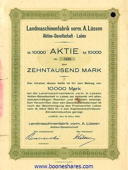 LANDMASCHINENFABRIK VORM. A. LÜSSEN A-G