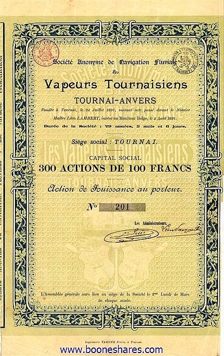 VAPEURS TOURNAISIENS, S.A. DE NAVIGATION FLUVIALE LES
