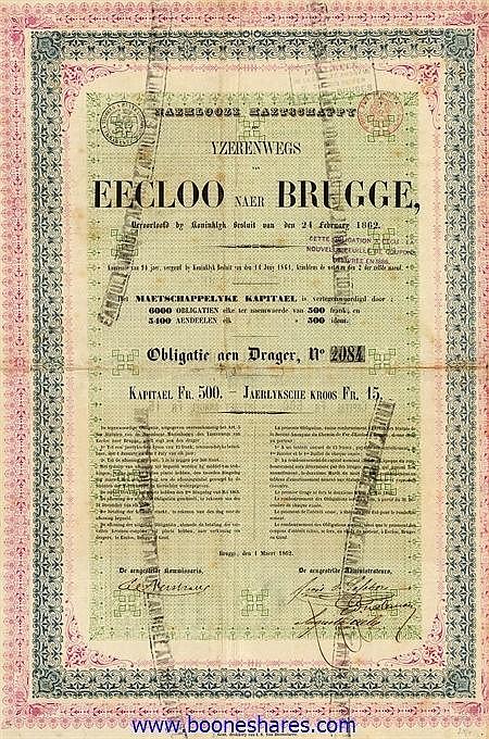 YZERENWEGS VAN EECLOO NAER BRUGGE, N.V.