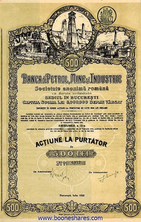 BANCA DE PETROL, MINE SI INDUSTRIE