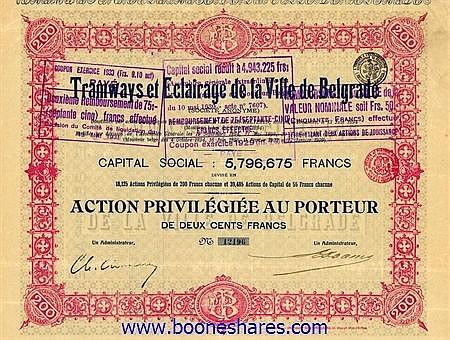 TRAMWAYS ET ECLAIRAGE DE LA VILLE DE BELGRADE S.A.