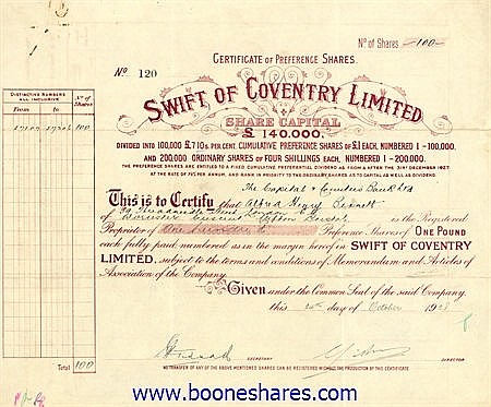 SWIFT OF COVENTRY LTD.