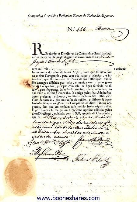 PESCARIAS REAES DO REINO DO ALGARVE, CIA. GERAL DAS