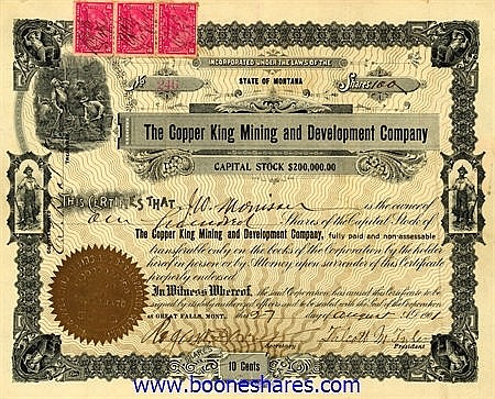 COPPER KING MINING AND DEVELOPMENT CO. (2 pieces)