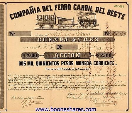 FERRO CARRIL DEL OESTE BUENOS AYRES, CIA DEL
