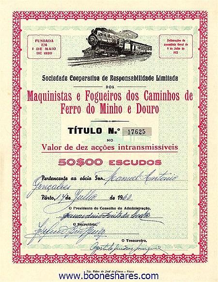 MAQUINISTAS E FOGUEIROS DOS CAMINHOS DE FERRO DE MINHO E DOURO, SOC. COOPERATIVA