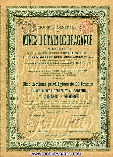 MINES D'ETAIN DE BRAGANCE (PORTUGAL) S.A. BELGE, SOC. GEN.