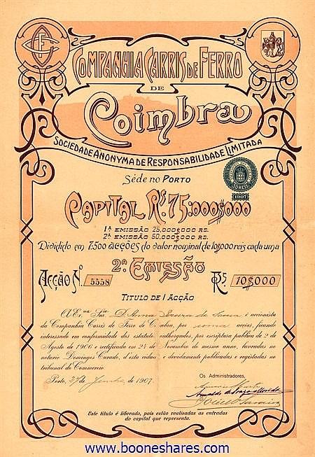 COIMBRA, CIA CARRIS DE FERRO DE