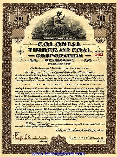 COLONIAL TIMBER AND COAL CORP.