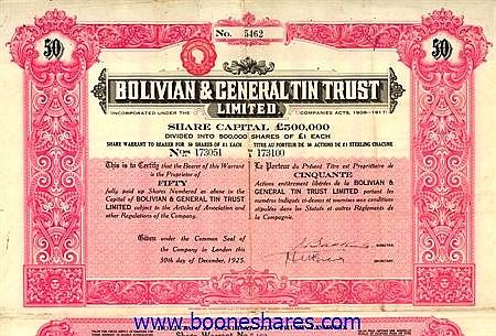 BOLIVIAN & GENERAL TIN TRUST LTD
