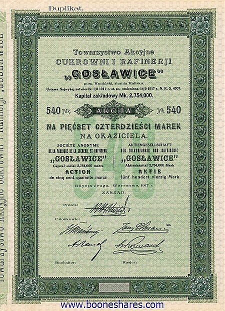 GOSLAWICE, S.A. DE LA FABRIQUE DE LA SUCRERIE ET RAFFINERIE