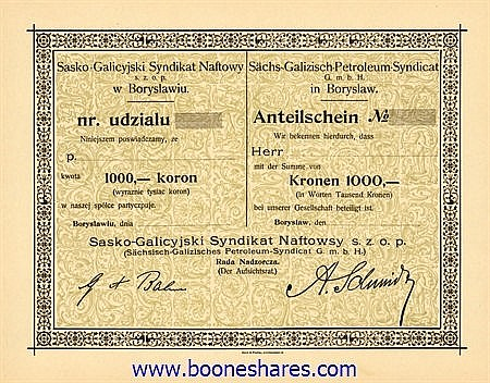 SÄCHS-GALIZISCH-PETROLEUM-SYNDICAT G.m.b.H. IN BORYSLAW