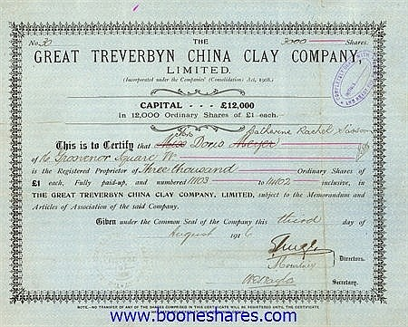 GREAT TREVERBYN CHINA CLAY CO. LTD.