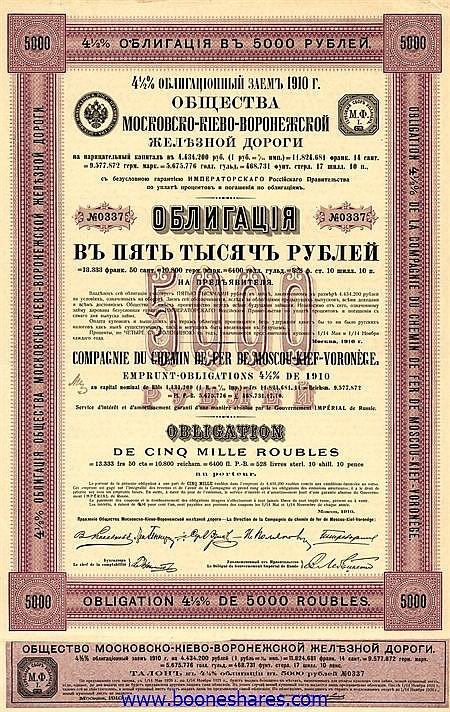 C.D.F. DE MOSCOU-KIEF-VORONEGE 1910 II