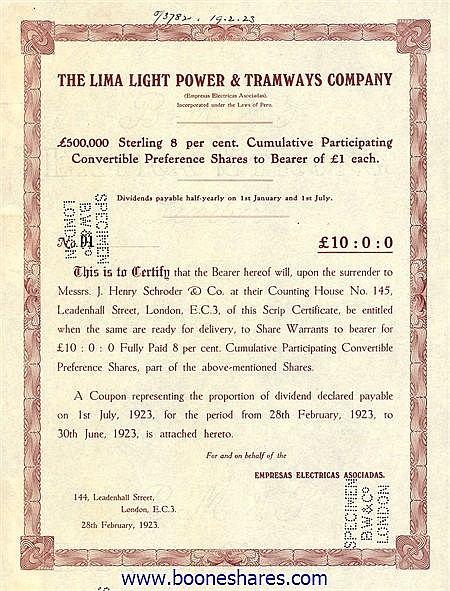 LIMA LIGHT POWER AND TRAMWAYS CO.