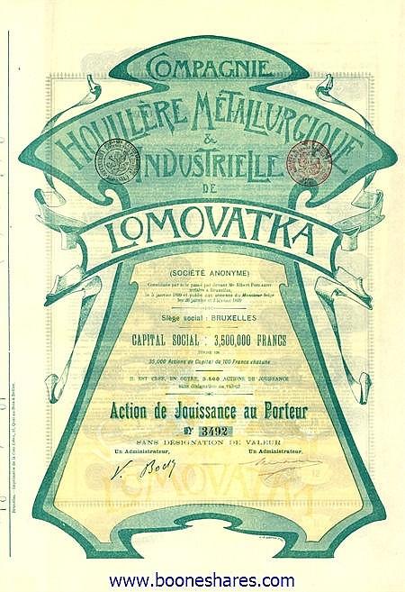 HOUILLERE METALLURGIQUE & INDUSTRIELLE DE LOMOVATKA S.A., CIE