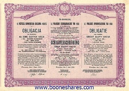 POLNISCHE EISENBAHNANLEIHE 1933