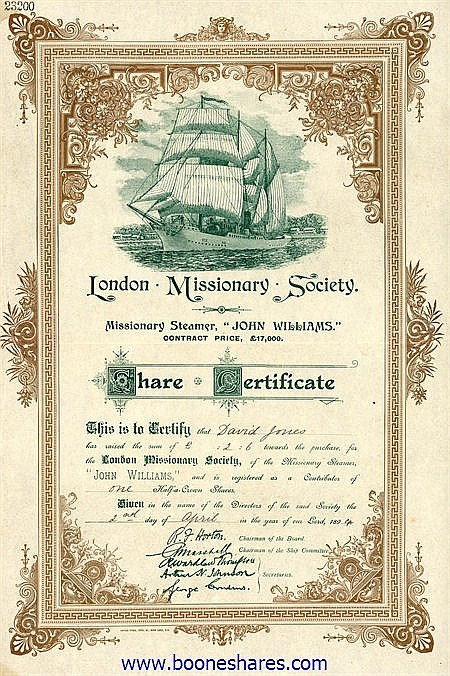 LONDON MISSIONARY SOCIETY - MISSIONARY STEAMER