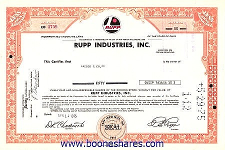 RUPP INDUSTRIES, INC.