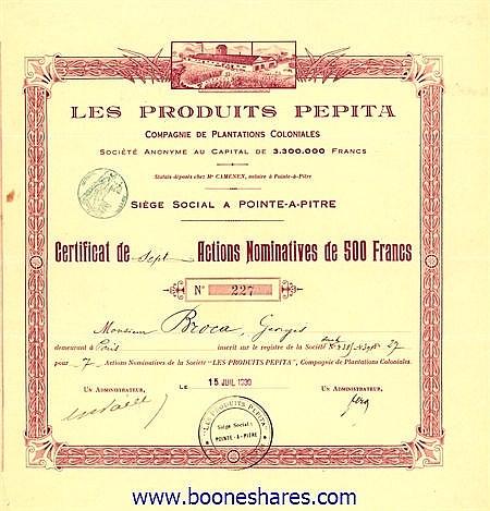 PRODUITS PEPITA, CIE. DE PLANTATIONS COLONIALES
