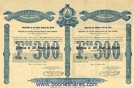 EMPRUNT DU GOUVERNEMENT DE HONDURAS 1869, C.D.F. DE L'ETAT