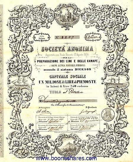 PREPARAZIONE DEI LINI E DELLE CANAPE ED OGNI ALTRA MATERIA FIBROSA SECONDO IL SISTEMA DICKSON, S.A. PER LA