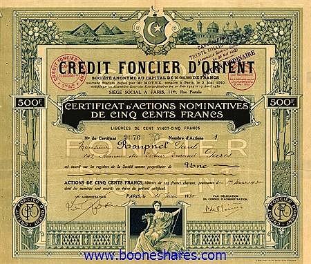 CREDIT FONCIER D'ORIENT S.A.