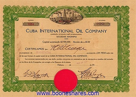 CUBA INTERNATIONAL OIL CO.