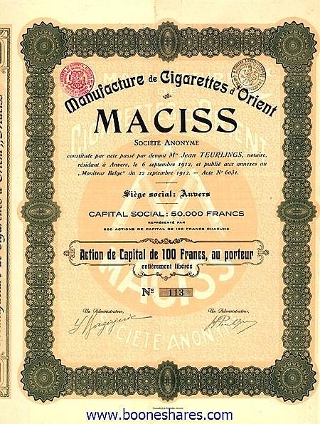 MANUFACTURE DE CIGARETTES D'ORIENT MACISS S.A.