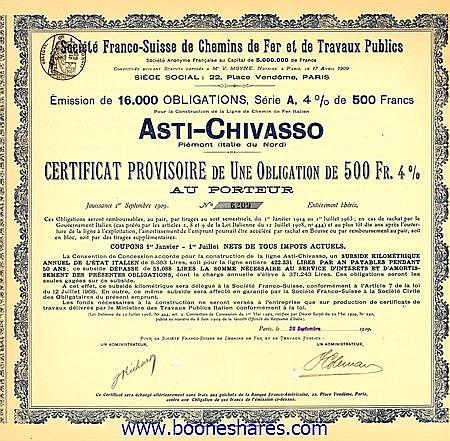 C.D.F. ET DE TRAVAUX PUBLICS, SOC. FRANCO-SUISSE DE - LIGNE DE C.D.F. ITALIEN ASTI-CHIVASSO PIEMONT