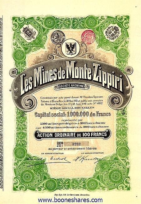 MINES DE MONTE ZIPPIRI S.A., LES