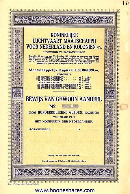 KONINKLIJKE LUCHTVAART MIJ. VOOR NEDERLAND EN KOLONIEN N.V. - KLM