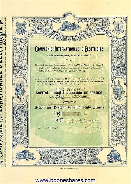 INTERNATIONALE D'ELECTRICITE, CIE.